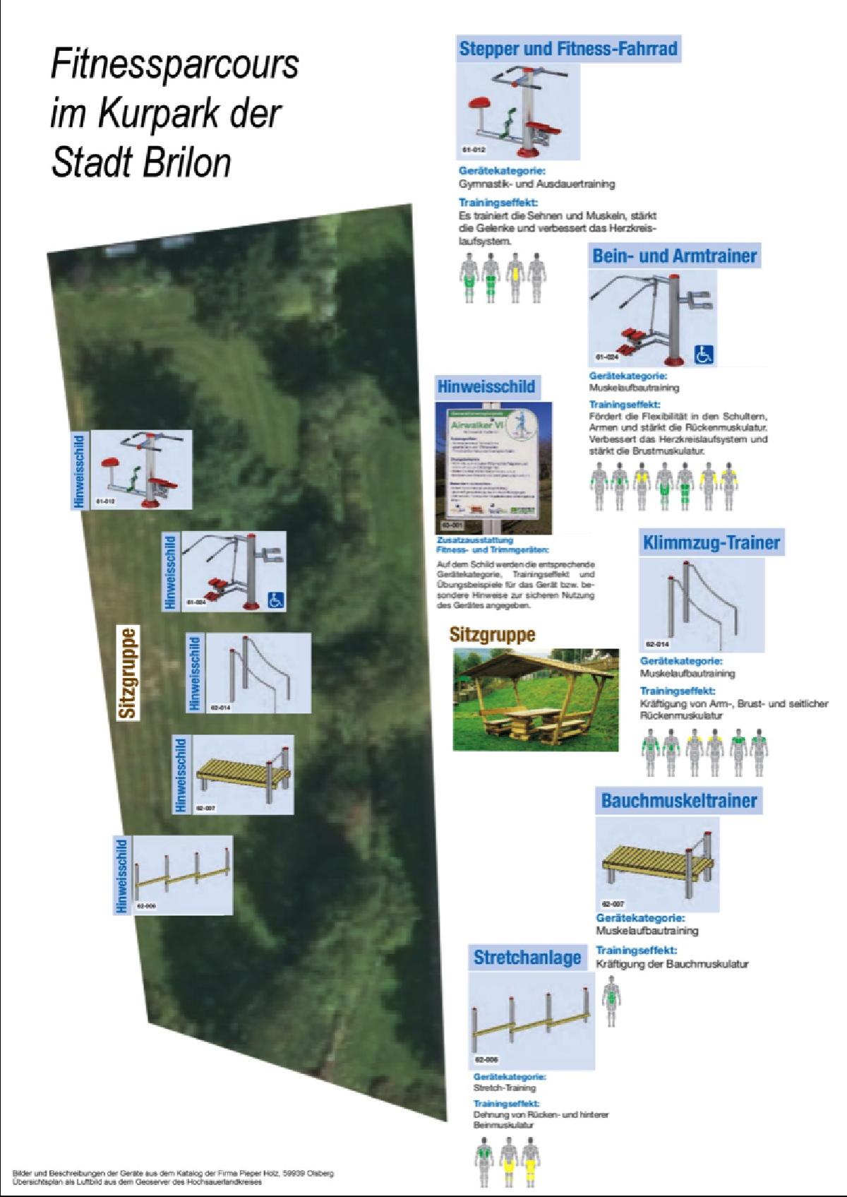 Fitnessparcours im Kurpark der Stadt Brilon