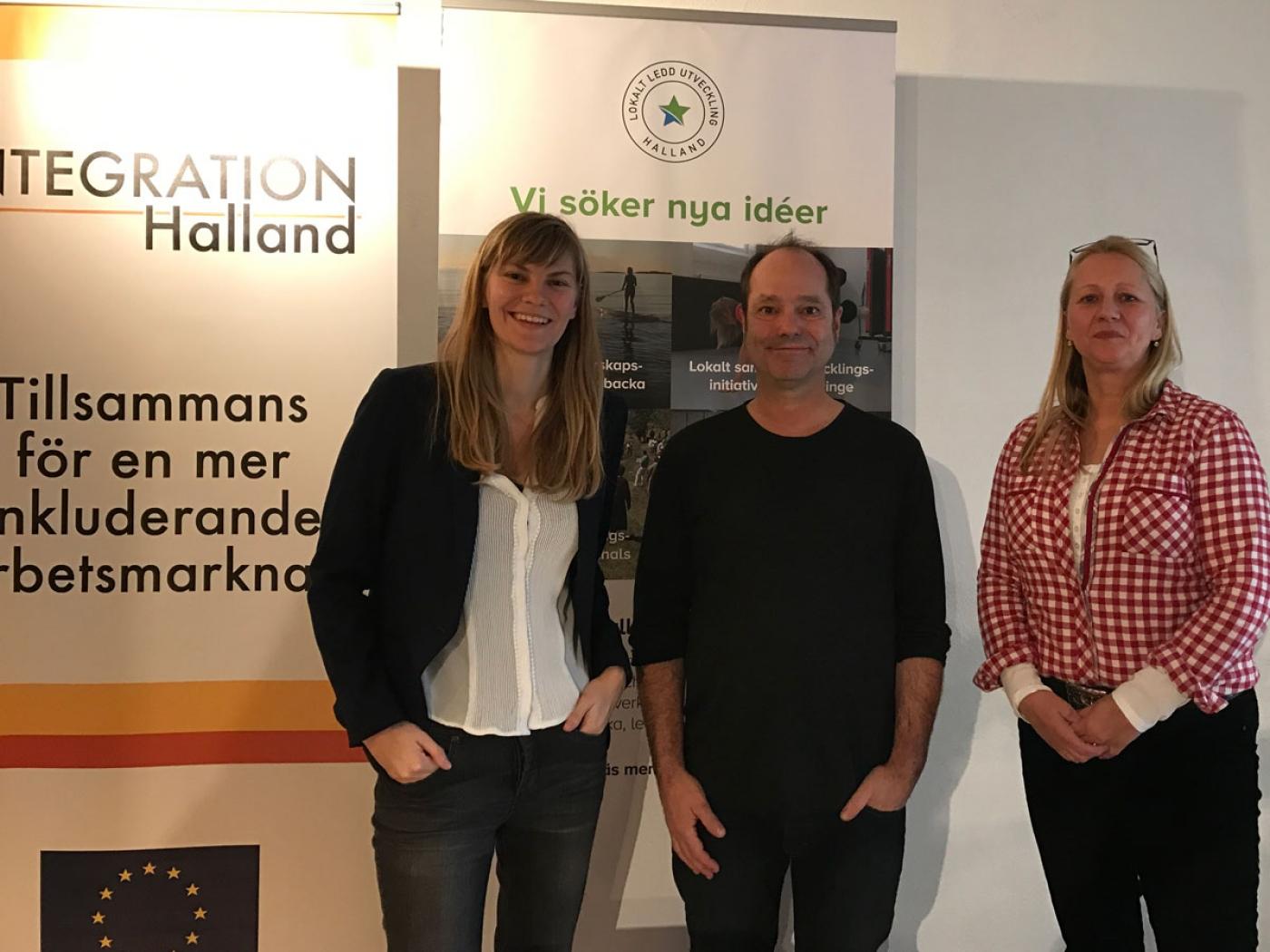 Die Sauerländer Delegation in Schweden: Hannah Kath, Christoph Hammerschmidt und Diana Kammender (Kommunales Integrationszentrum)